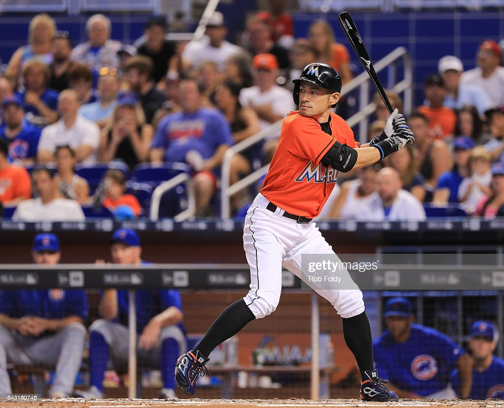Ichiro Suzuki #51 of the Miami Marlins at bat during the third inning of the game against the Chicago Cubs at Marlins Park on June 26, 2016 in Miami, Florida.