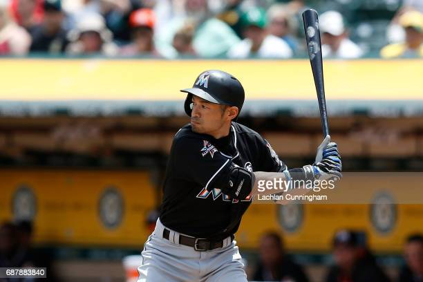Ichiro Suzuki of the Miami Marlins at bat in the third innning against the Oakland Athletics at Oakland Alameda Coliseum on May 24 2017 in Oakland...
