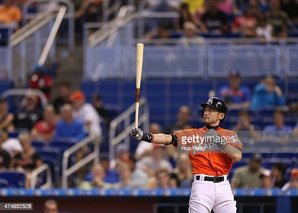 Ichiro Suzuki of the Miami Marlins bats during the eighth inning of the game against the Baltimore Orioles at Marlins Park on May 24 2015 in Miami...
