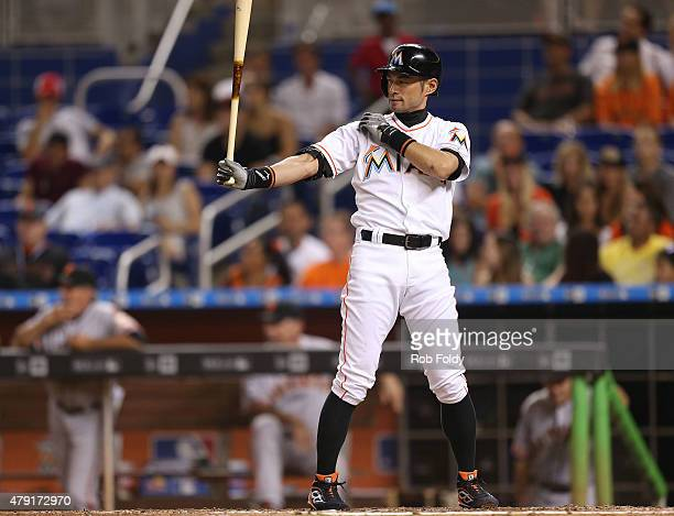 Ichiro Suzuki of the Miami Marlins bats during the eighth inning of the game against the San Francisco Giants at Marlins Park on July 1 2015 in Miami...