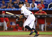 Ichiro Suzuki of the Miami Marlins bats during the first inning of the game against the Philadelphia Phillies at Marlins Park on September 24 2015 in...