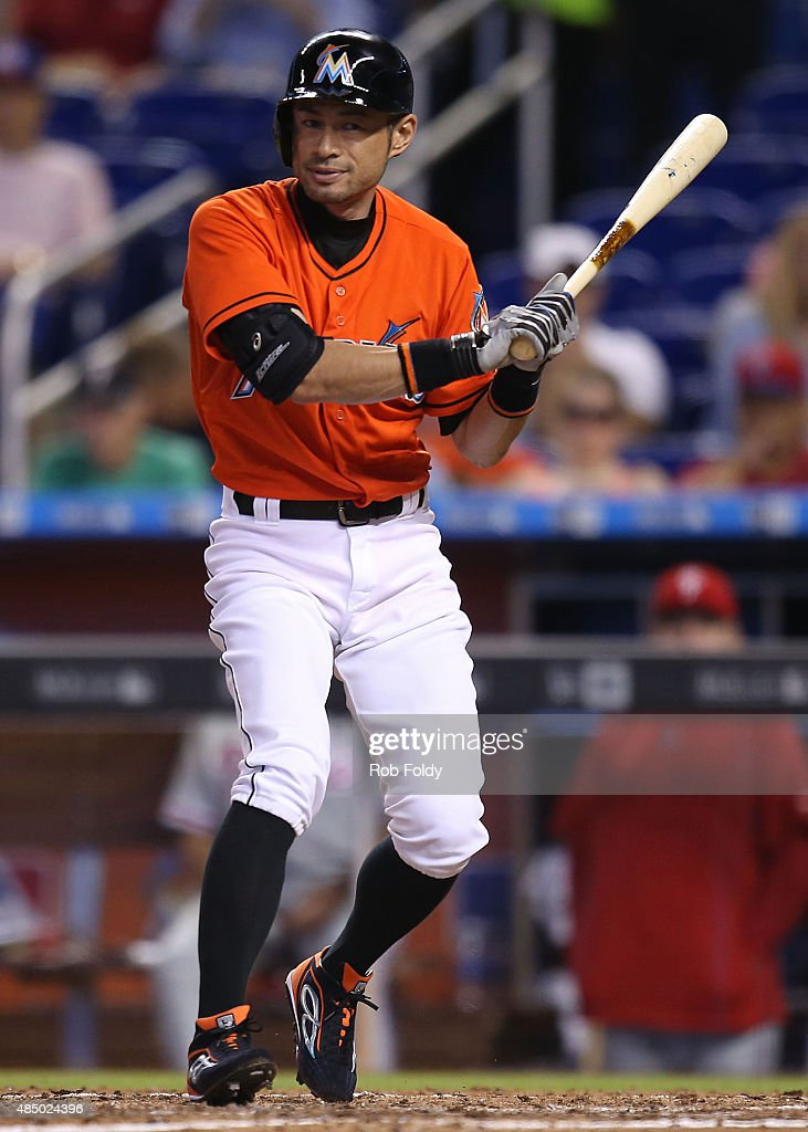 Ichiro Suzuki #51 of the Miami Marlins bats during the game against the Philadelphia Phillies at Marlins Park on August 23, 2015 in Miami, Florida.