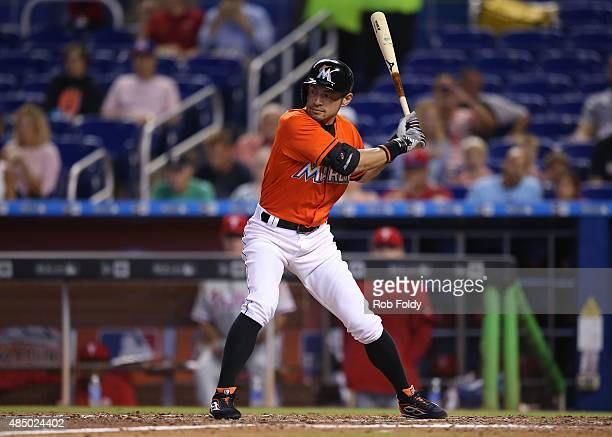Ichiro Suzuki of the Miami Marlins bats during the game against the Philadelphia Phillies at Marlins Park on August 23 2015 in Miami Florida