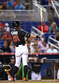 Ichiro Suzuki of the Miami Marlins bats during the game against the Atlanta Braves at Marlins Park on September 26 2015 in Miami Florida
