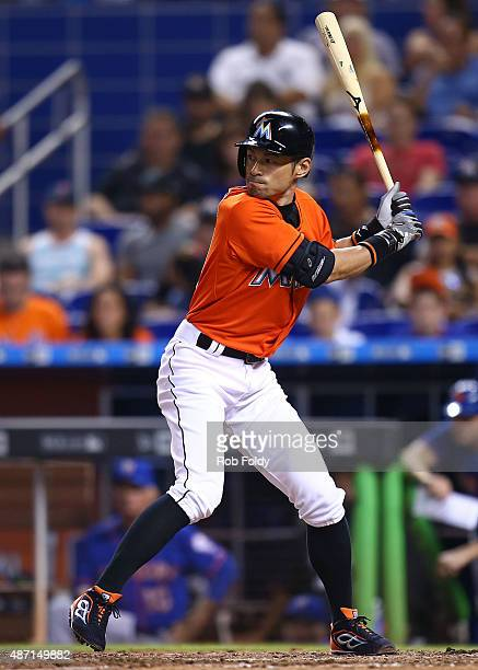 Ichiro Suzuki of the Miami Marlins bats during the ninth inning of the game against the New York Mets at Marlins Park on September 6 2015 in Miami...