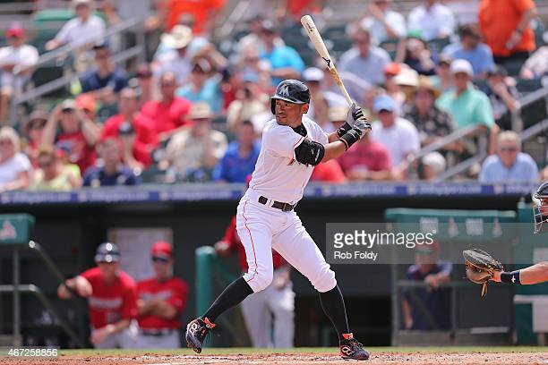 Ichiro Suzuki of the Miami Marlins bats during the second inning of the game against the Minnesota Twins at Roger Dean Stadium on March 22 2015 in...