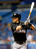 Ichiro Suzuki of the Miami Marlins bats during the seventh inning of a game against the Tampa Bay Rays on September 30 2015 at Tropicana Field in St...