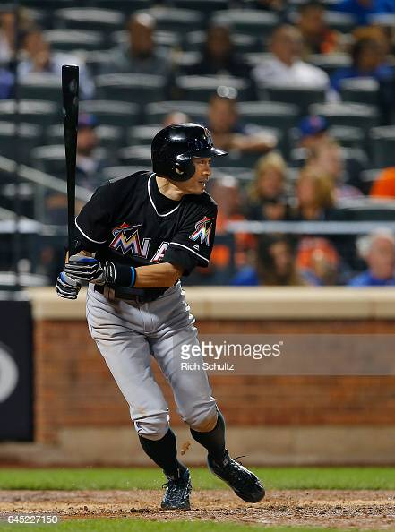 Ichiro Suzuki of the Miami Marlins bats during the sixth inning against of the New York Mets in a game at Citi Field on September 1 2016 in the...