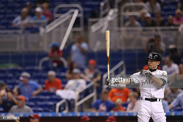 Ichiro Suzuki of the Miami Marlins bats during the third inning of the game against the Arizona Diamondbacks at Marlins Park on May 18 2015 in Miami...