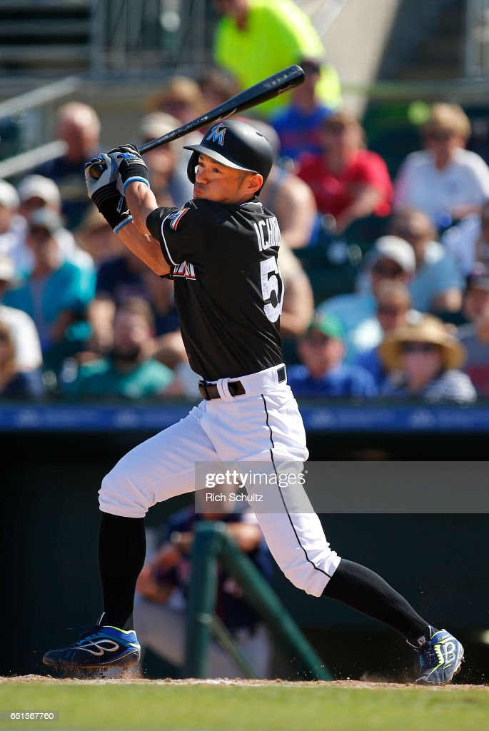 Ichiro Suzuki #51 of the Miami Marlins bats in the sixth inning against the Minnesota Twins during a spring training baseball game at Roger Dean Stadium on March 10, 2017 in Jupiter, Florida.