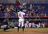 Ichiro Suzuki of the Miami Marlins during an at bat during the game against the Milwaukee Brewers at Marlins Park on September 7 2015 in Miami Florida