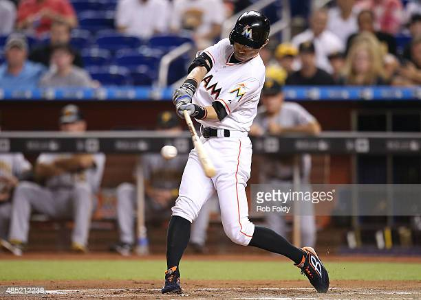 Ichiro Suzuki of the Miami Marlins flies out during the 10000th at bat of his major league career during the first inning of the game against the...