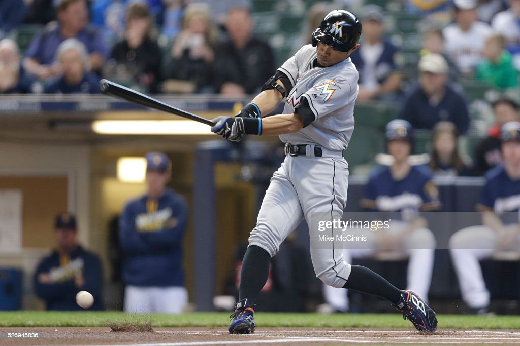 Ichiro Suzuki #51 of the Miami Marlins fouls off a pitch during the first inning against the Milwaukee Brewers at Miller Park on May 01, 2016 in Milwaukee, Wisconsin.