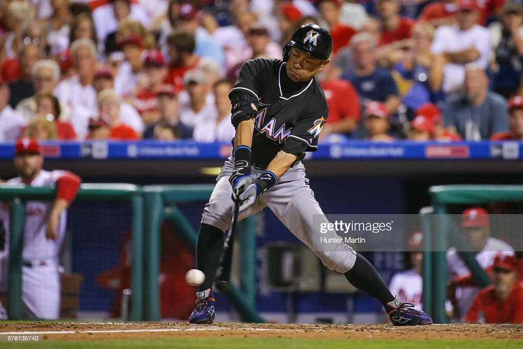Ichiro Suzuki #51 of the Miami Marlins fouls off a pitch while pinch hitting in the eighth inning during a game against the Philadelphia Phillies at Citizens Bank Park on July 20, 2016 in Philadelphia, Pennsylvania. The Phillies won 4-1.