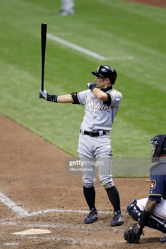 Ichiro Suzuki #51 of the Miami Marlins gets ready for the next pitch during the eighth inning against the Milwaukee Brewers at Miller Park on May 01, 2016 in Milwaukee, Wisconsin.