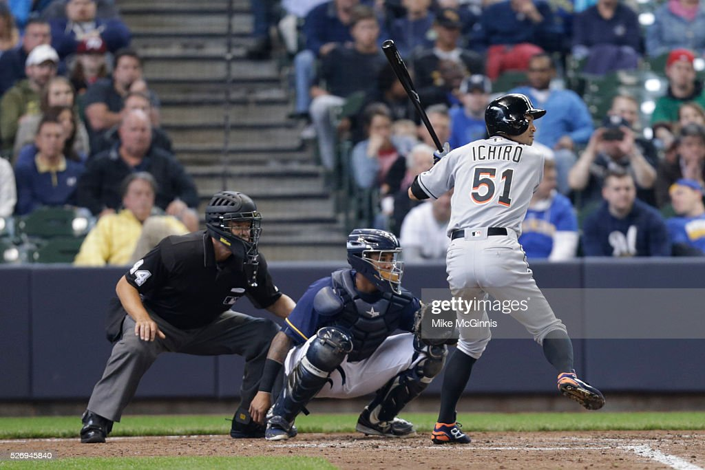 Ichiro Suzuki #51 of the Miami Marlins gets ready for the next pitch during the fourth inning against the Milwaukee Brewers at Miller Park on May 01, 2016 in Milwaukee, Wisconsin.