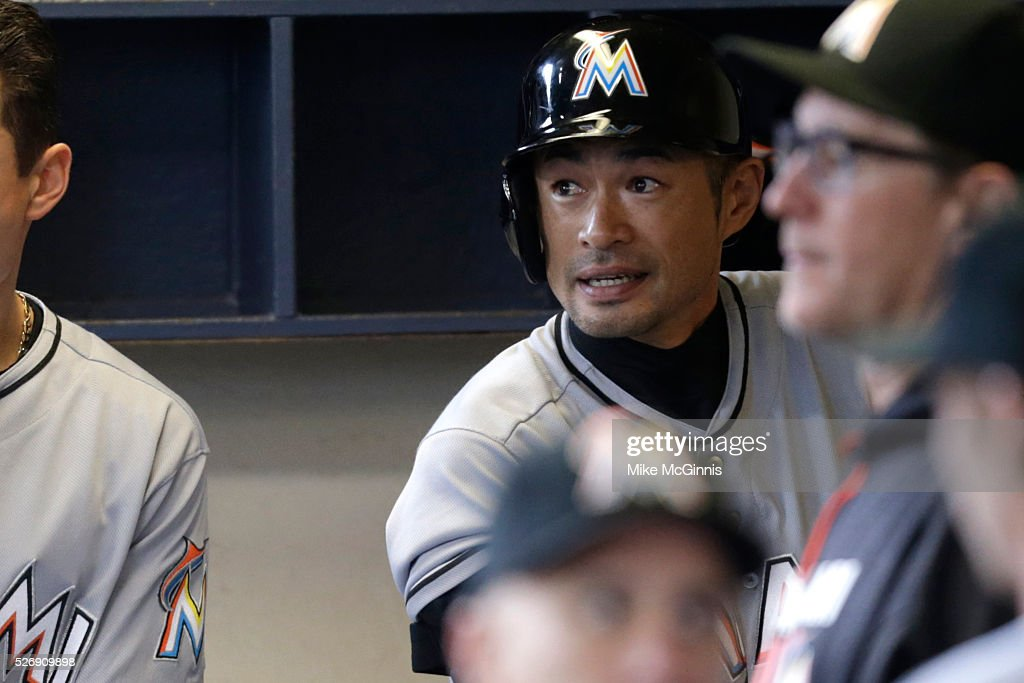 <a gi-track='captionPersonalityLinkClicked' href=/galleries/search?phrase=Ichiro+Suzuki&family=editorial&specificpeople=201556 ng-click='$event.stopPropagation()'>Ichiro Suzuki</a> #51 of the Miami Marlins gets ready in the dugout before the start of the game against the Milwaukee Brewers at Miller Park on May 01, 2016 in Milwaukee, Wisconsin.