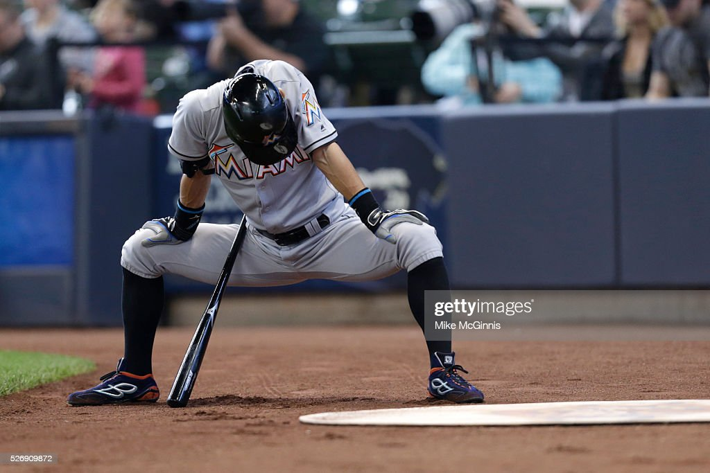 <a gi-track='captionPersonalityLinkClicked' href=/galleries/search?phrase=Ichiro+Suzuki&family=editorial&specificpeople=201556 ng-click='$event.stopPropagation()'>Ichiro Suzuki</a> #51 of the Miami Marlins gets ready in the on deck circle during the first inning against the Milwaukee Brewers at Miller Park on May 01, 2016 in Milwaukee, Wisconsin.