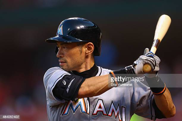 Ichiro Suzuki of the Miami Marlins gets ready to bat against the St Louis Cardinals in the second inning at Busch Stadium on August 14 2015 in St...
