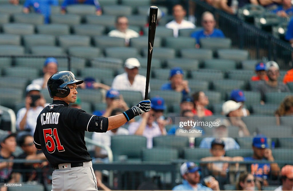 Ichiro Suzuki #51 of the Miami Marlins gets set to bat in the ninth inning against the New York Mets at Citi Field on July 6, 2016 in the Flushing neighborhood of the Queens borough of New York City. The Mets defeated the Marlins 4-2.