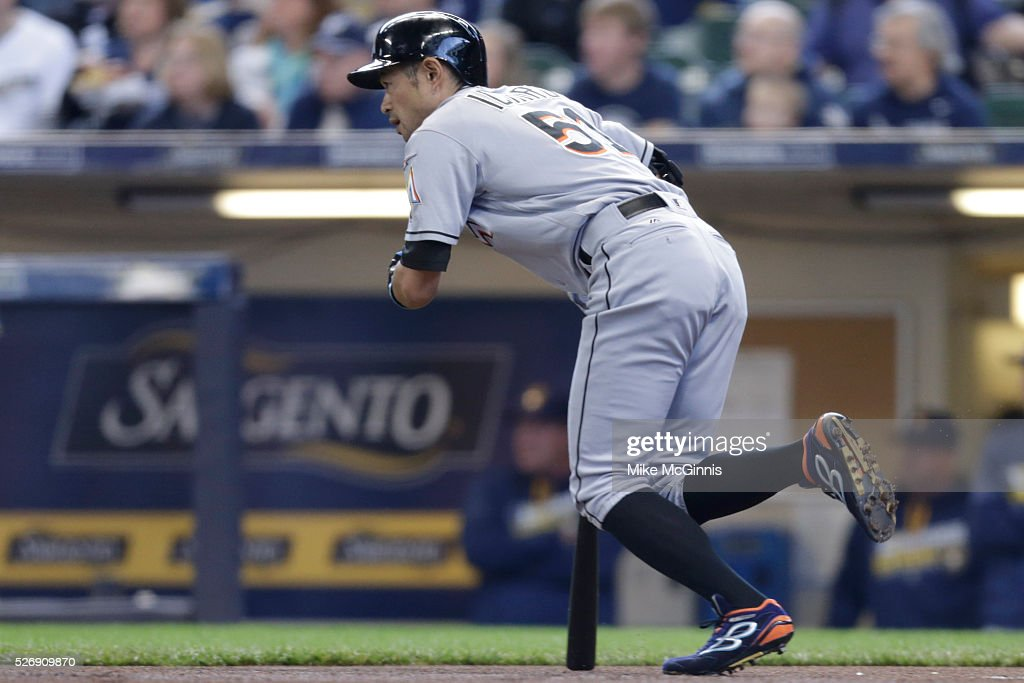 <a gi-track='captionPersonalityLinkClicked' href=/galleries/search?phrase=Ichiro+Suzuki&family=editorial&specificpeople=201556 ng-click='$event.stopPropagation()'>Ichiro Suzuki</a> #51 of the Miami Marlins grounds out during the first inning against the Milwaukee Brewers at Miller Park on May 01, 2016 in Milwaukee, Wisconsin.