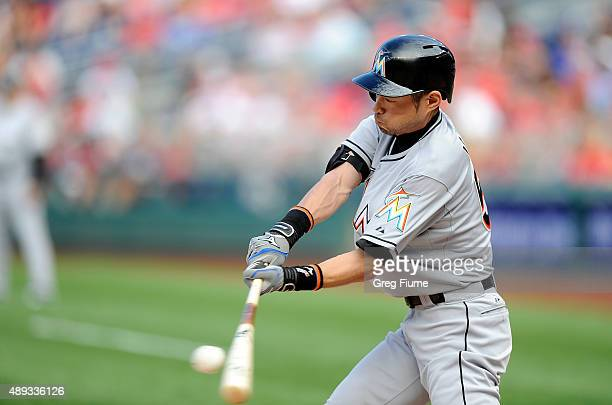 Ichiro Suzuki of the Miami Marlins grounds out in the eighth inning against the Washington Nationals at Nationals Park on September 20 2015 in...
