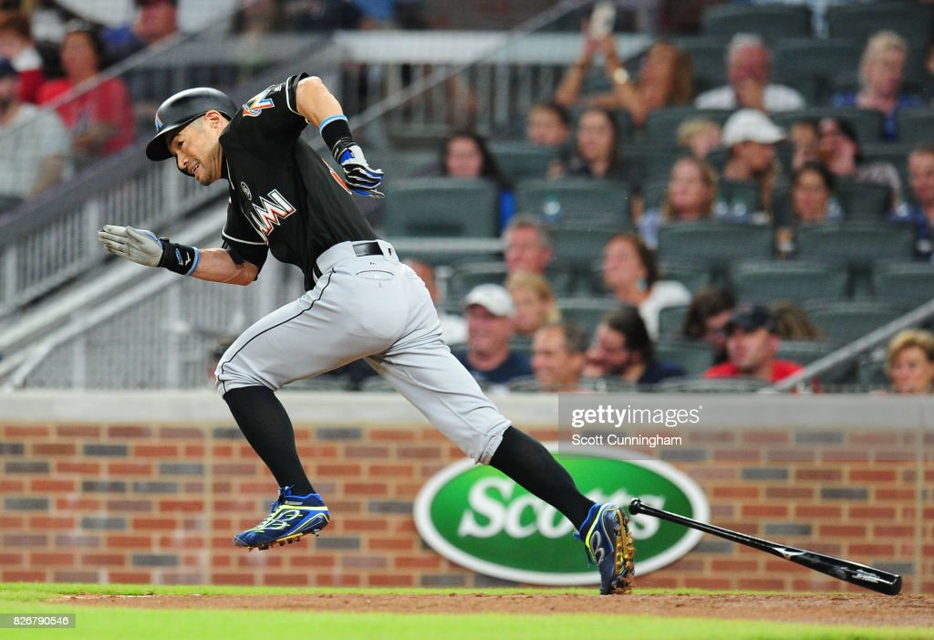 Ichiro Suzuki #51 of the Miami Marlins grounds out to shortstop in the eighth inning against the Atlanta Braves at SunTrust Park on August 5, 2017 in Atlanta, Georgia.