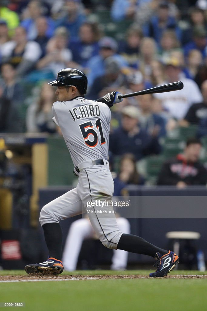 Ichiro Suzuki #51 of the Miami Marlins grounds out to the infield during the sixth inning against the Milwaukee Brewers at Miller Park on May 01, 2016 in Milwaukee, Wisconsin.