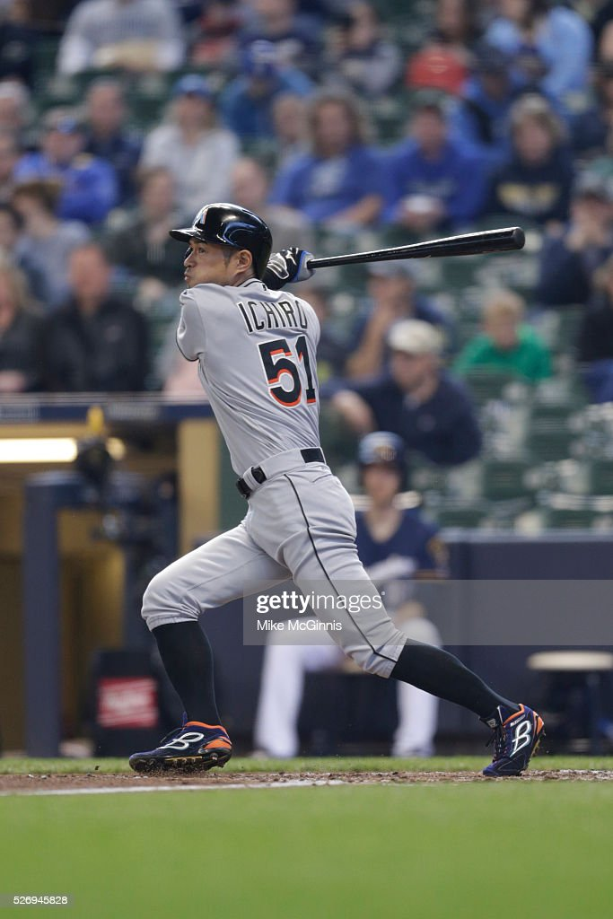Ichiro Suzuki #51 of the Miami Marlins hits a double in the third inning against the Milwaukee Brewers at Miller Park on May 01, 2016 in Milwaukee, Wisconsin.