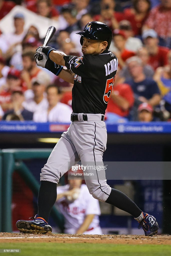 Ichiro Suzuki #51 of the Miami Marlins hits a fly ball while pinch hitting in the eighth inning during a game against the Philadelphia Phillies at Citizens Bank Park on July 20, 2016 in Philadelphia, Pennsylvania. The Phillies won 4-1.