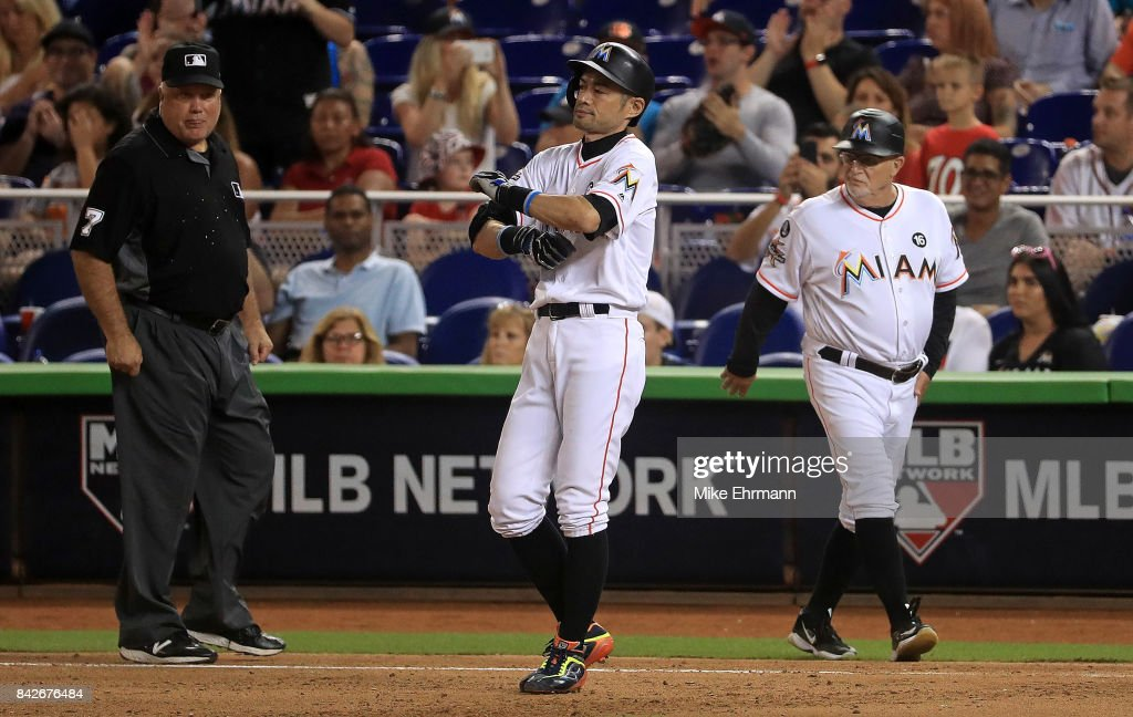 Ichiro Suzuki #51 of the Miami Marlins hits a single in the seventh inning during a game against the Washington Nationals at Marlins Park on September 4, 2017 in Miami, Florida.