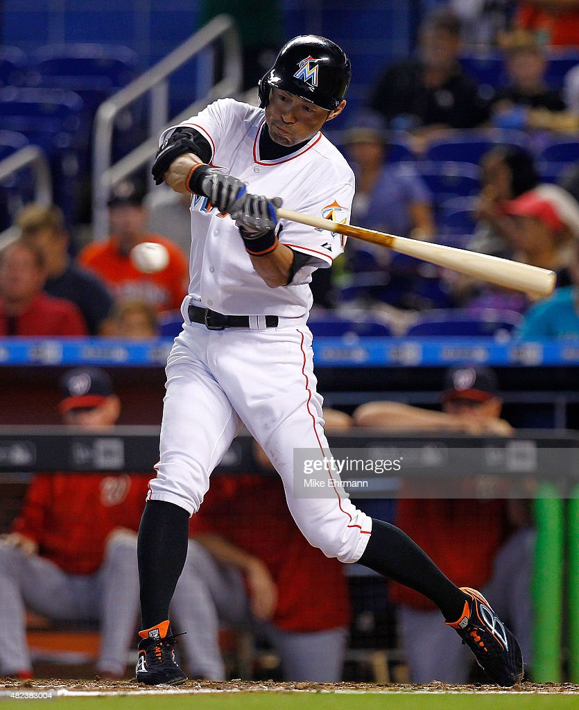 Ichiro Suzuki #51 of the Miami Marlins hits during a game against the Washington Nationals at Marlins Park on July 30, 2015 in Miami, Florida.