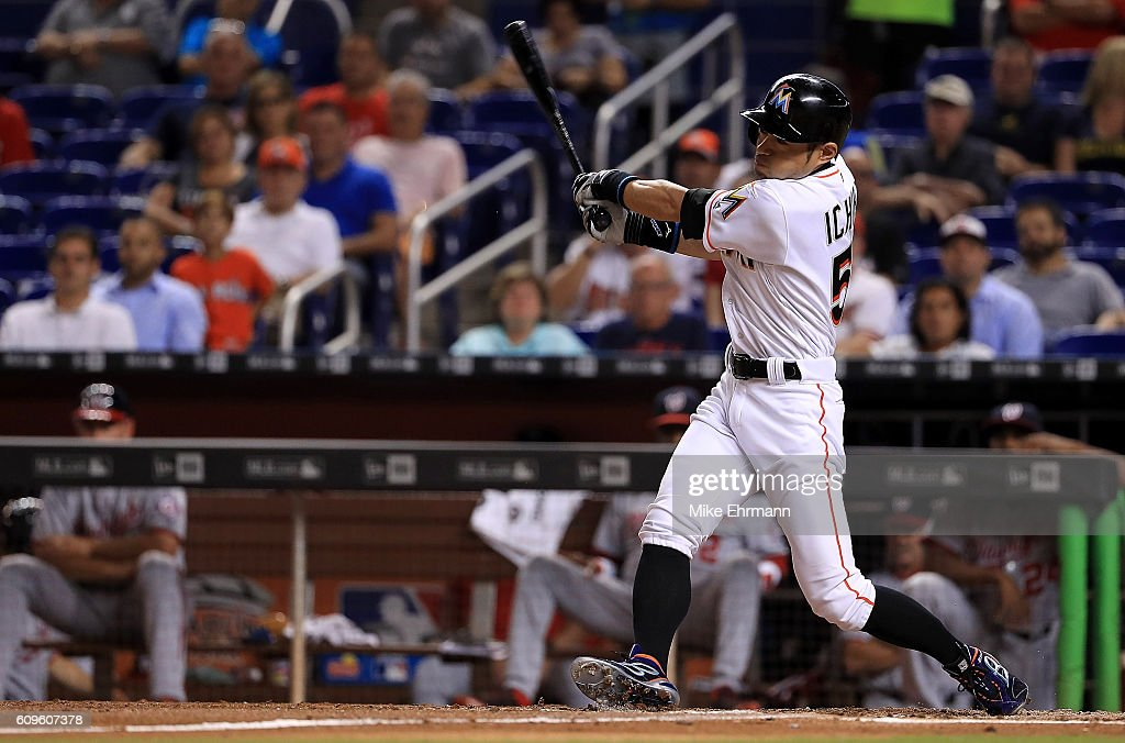 Ichiro Suzuki #51 of the Miami Marlins hits during a game against the Washington Nationals at Marlins Park on September 21, 2016 in Miami, Florida.