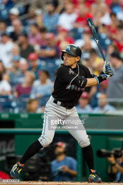 Ichiro Suzuki of the Miami Marlins hits in the second inning during a game against the Washington Nationals at Nationals Park on August 9 2017 in...