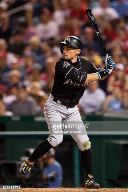 Ichiro Suzuki of the Miami Marlins hits in the seventh inning during a game against the Washington Nationals at Nationals Park on August 9 2017 in...