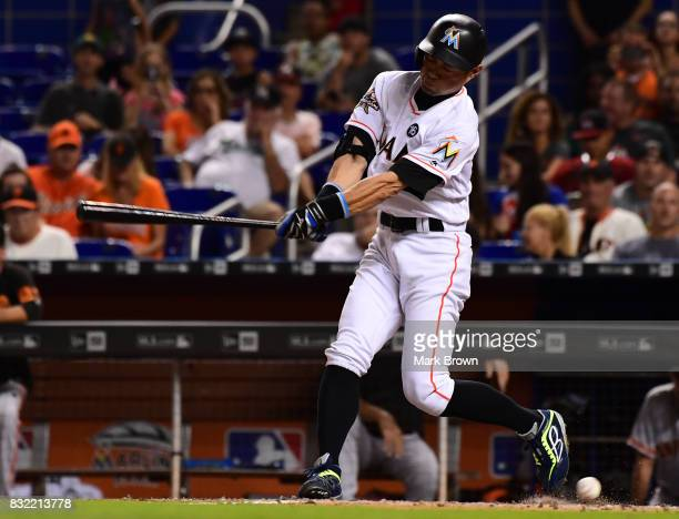 Ichiro Suzuki of the Miami Marlins hits in the seventh inning during the game between the Miami Marlins and the San Francisco Giants at Marlins Park...