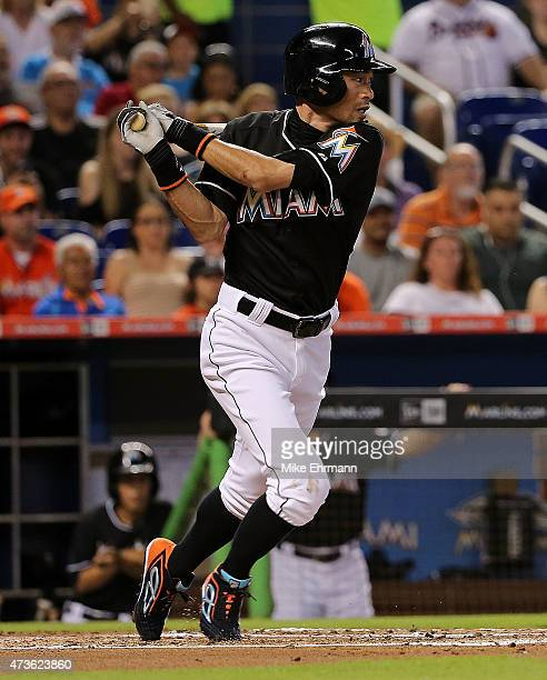 Ichiro Suzuki of the Miami Marlins hits in the third inning during a game against the Atlanta Braves at Marlins Park on May 16 2015 in Miami Florida