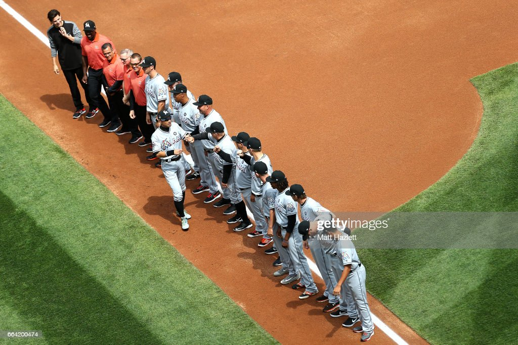 Ichiro Suzuki #51 of the Miami Marlins is introduced prior to the opening day game against the Washington Nationals at Nationals Park on April 3, 2017 in Washington, DC.