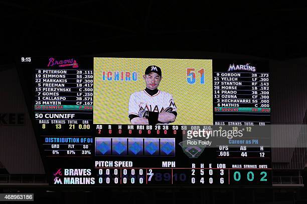Ichiro Suzuki of the Miami Marlins is shown on the jumbotron screen during the seventh inning of the game against the Atlanta Braves at Marlins Park...