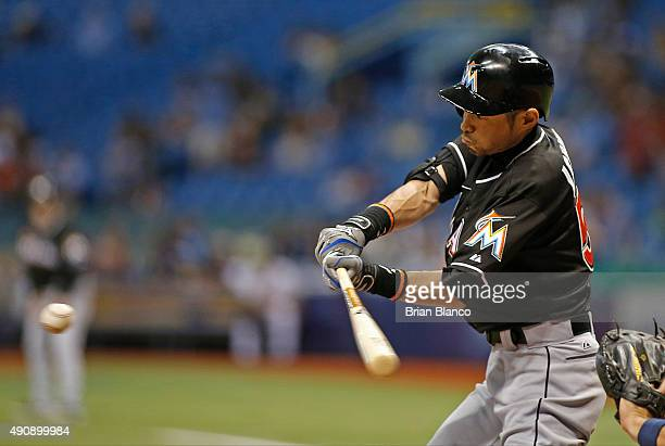 Ichiro Suzuki of the Miami Marlins lines out to shortstop Tim Beckham of the Tampa Bay Rays during the third inning of a game on October 1 2015 at...