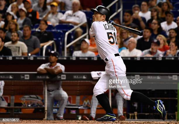 Ichiro Suzuki of the Miami Marlins pinch hit in the eighth inning during the game between the Miami Marlins and the Washington Nationals at Marlins...