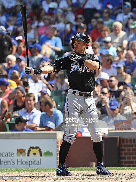 Ichiro Suzuki of the Miami Marlins pinch hits in the 7th inning against the Chicago Cubs at Wrigley Field on August 3 2016 in Chicago Illinois The...