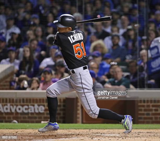 Ichiro Suzuki of the Miami Marlins pinch hits in the 7th inning against the Chicago Cubs at Wrigley Field on June 6 2017 in Chicago Illinois The Cubs...