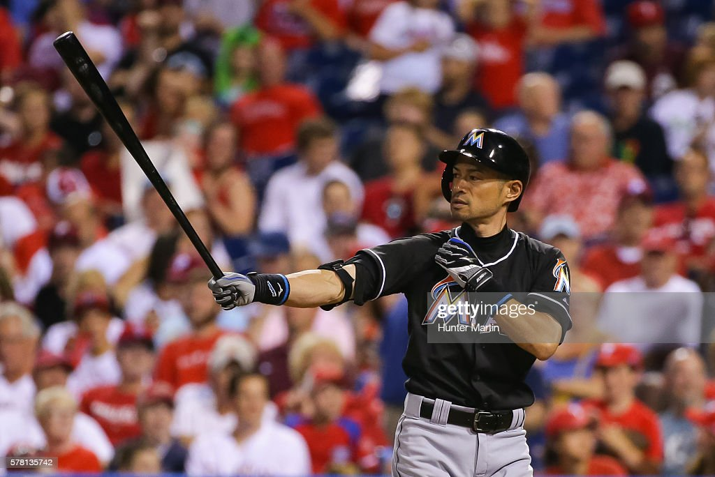Ichiro Suzuki #51 of the Miami Marlins pinch hits in the eighth inning during a game against the Philadelphia Phillies at Citizens Bank Park on July 20, 2016 in Philadelphia, Pennsylvania. The Phillies won 4-1.