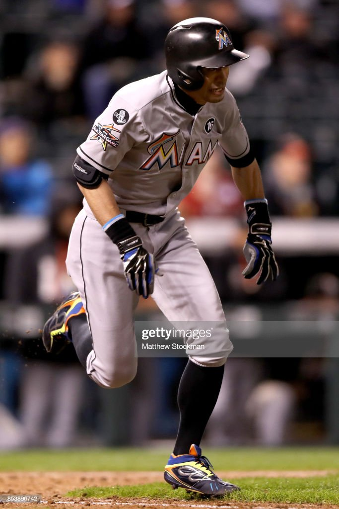 Ichiro Suzuki #51 of the Miami Marlins pinch hits in the ninth inning against the Colorado Rockies at Coors Field on September 25, 2017 in Denver, Colorado.