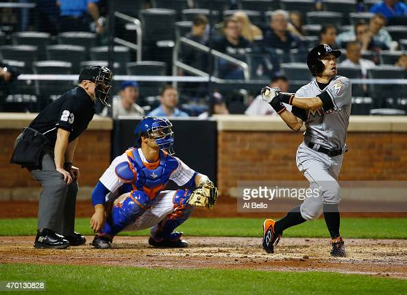 Ichiro Suzuki of the Miami Marlins pops out in the fifth inning against the New York Mets during their game at Citi Field on April 17 2015 in New...