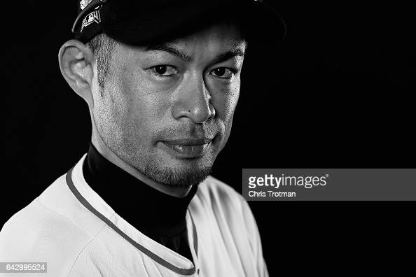 Ichiro Suzuki of the Miami Marlins poses for a photograph at Spring Training photo day at Roger Dean Stadium on February 18 2017 in Jupiter Florida