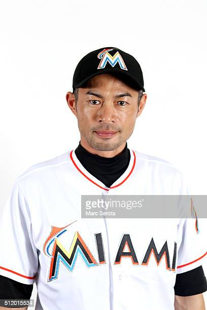 Ichiro Suzuki of the Miami Marlins poses for photos on media day at Roger Dean Stadium on February 24 2016 in Jupiter Florida