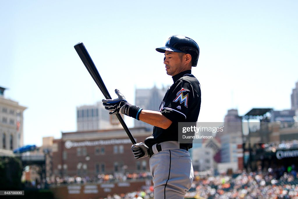 <a gi-track='captionPersonalityLinkClicked' href=/galleries/search?phrase=Ichiro+Suzuki&family=editorial&specificpeople=201556 ng-click='$event.stopPropagation()'>Ichiro Suzuki</a> #51 of the Miami Marlins prepares to bat against the Detroit Tigers during the first inning at Comerica Park on June 29, 2016 in Detroit, Michigan.