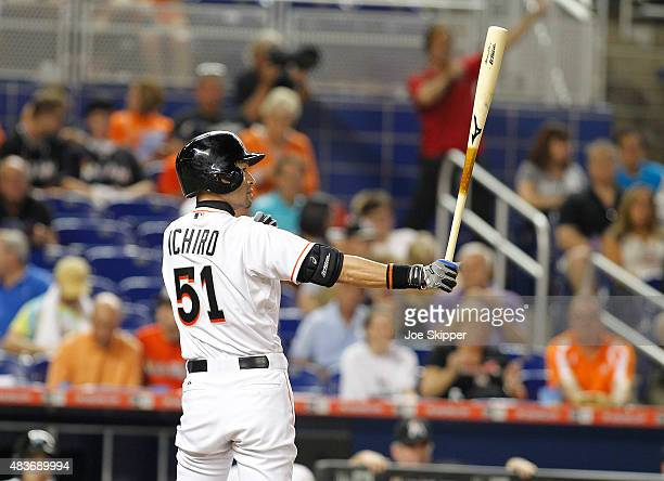 Ichiro Suzuki of the Miami Marlins prepares to hits a in the ninth inning against the Boston Red Sox at Marlins Park on August 11 2015 in Miami...